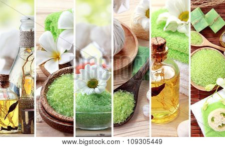 Green Spa Concept Collage. Soap And Essensials Spa Objects