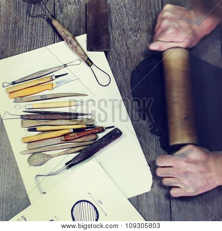 Handy Rolling Clay Craftsman Skill Concept