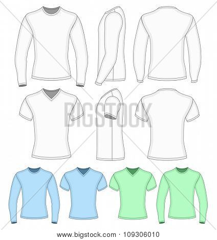 Men's short and long  sleeved t-shirt. Vector illustration.  Redact color very easy.