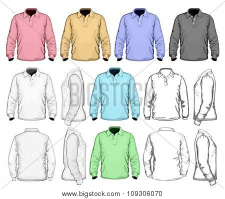 Men's long sleeved polo-shirt. Vector illustration.  Different variants: detailed, simple and color vector  illustrations.