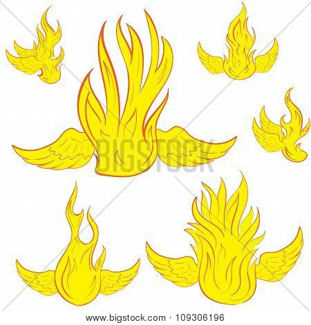 Set with winged fire