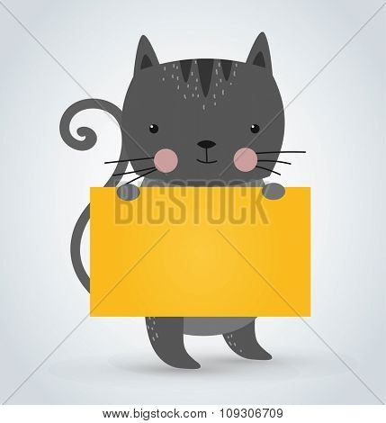 Cat pet animal holding clean welcome yellow board banner vector cartoon. Pets vector kitty. Home pets gray cat. Cat cartoon illustration. Vector cat holding white sale board. Cat holding yellow text