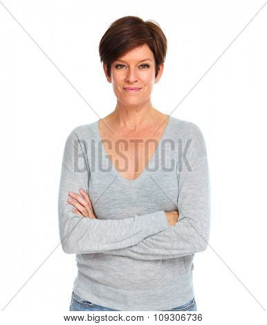 Beautiful smiling woman isolated over white background.