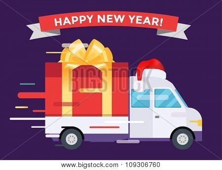 Delivery vector transport truck van Christmas gift box bow ribbon. Delivery service van Christmas greeting card. Delivery truck, gift box. Wedding box, birthday box. Christmas hipping transport