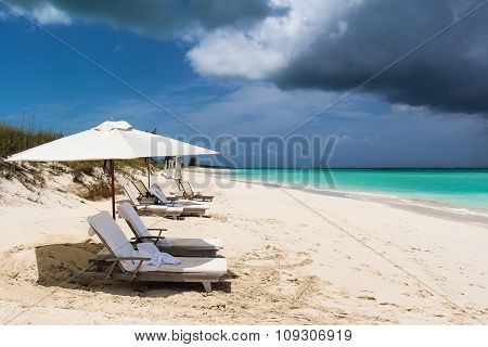 Beach with storm approaching