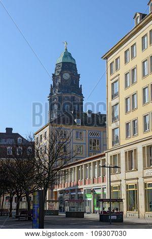 View Of Gewandhausstrasse Street Towards Kreuzkirche In Dresden, Saxony, Germany.