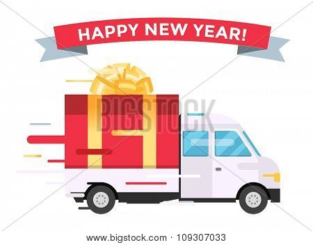 Delivery vector transport truck van Christmas gift box bow ribbon. Delivery service van New Year greeting card. Delivery truck, gift box. Wedding box, birthday box. New Year hipping transport