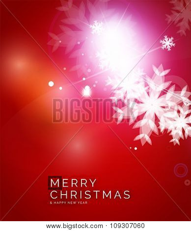 Holiday red abstract background, winter snowflakes, Christmas and New Year design template, light shiny modern illustration