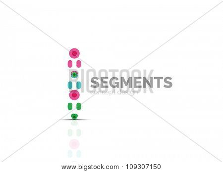 Outline minimal abstract geometric logo, linear business icon made of line segments, elements. illustration
