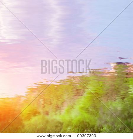 natural landscape with sky reflected in water