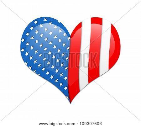 Heart With Usa Flag.