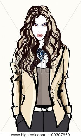 Young pretty fashion model - Vector illustration