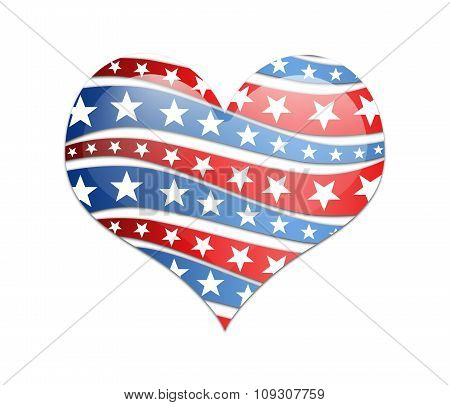 Heart With Usa Flag.