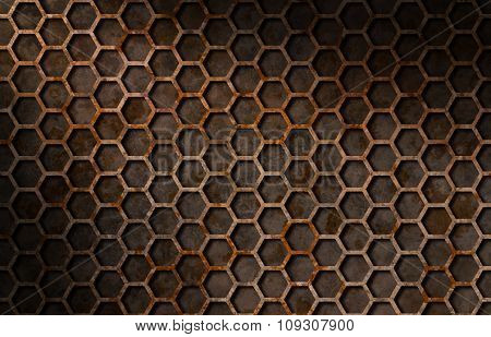 Rusty Hexagon Pattern Grate Texture Lit Diagonally