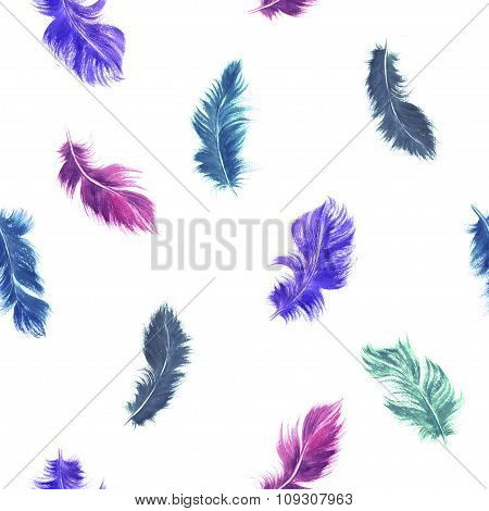 Watercolor Feather Seamless Pattern In Purple