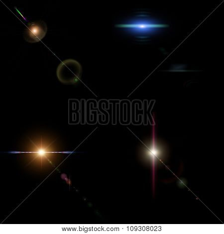collage with colorful bright stars and Rays on black background