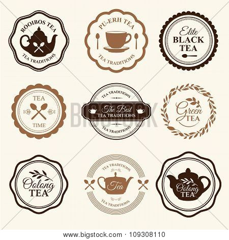 Vector Illustration with tea logo on white background.