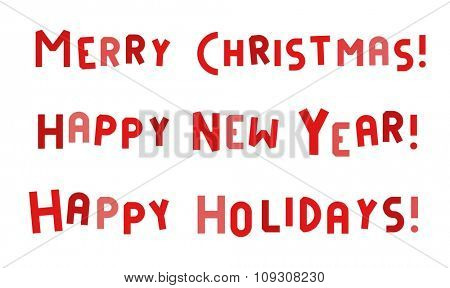 New Year and Merry Christmas greeting card vector text isolated. Christmas Holidays greeting text decoration. Font New Year greeting card banner. Christmas font text isolated. Christmas holiday poster