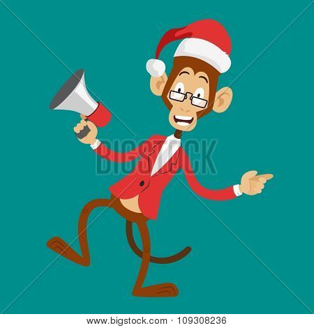 Funny monkey Christmas Santa hat dancing. New Year monkey isolated. Cartoon monkey dancing Christmas greeting card illustration. Christmas New Year business greeting card