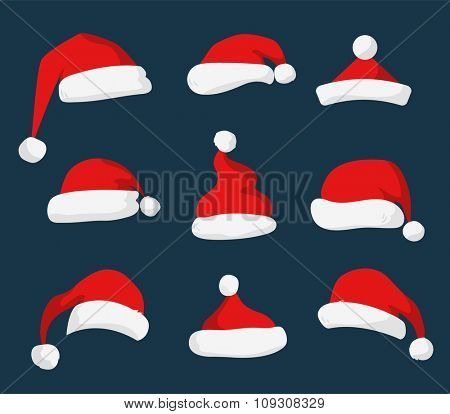 Santa Claus red hat silhouette. Santa hat, Santa red hat isolated on background. Santa hat. New Year 2016 santa red hat . Santa head hat vector. Santa Christmas hat decoration. Santa face hat vector