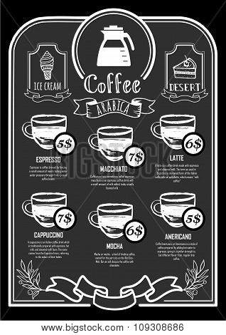 Coffeehouse menu. Coffee Poster on a blackboard.