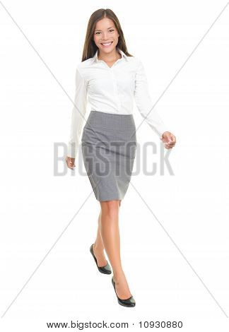 Businesswoman Walking On White Background
