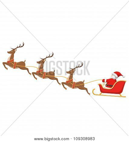 Santa On Sleigh And His Reindeers Isolated On White