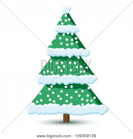 Christmas tree in the snow on white background. Illustration EPS10.