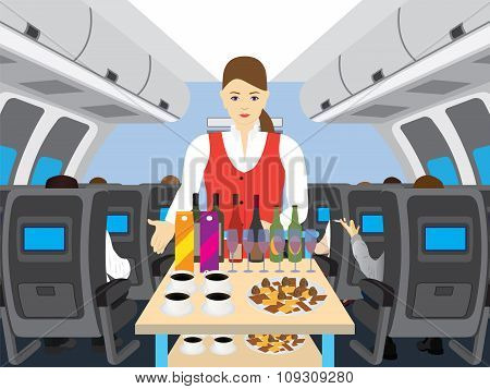 Stewardess In Salon Of The Plane.