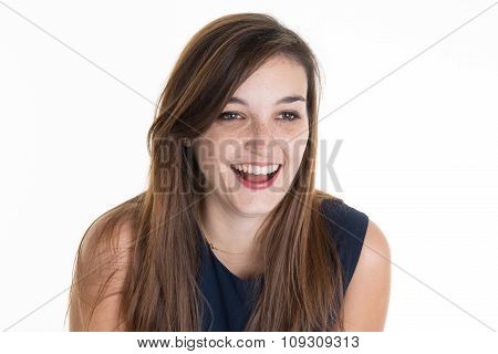 Young Woman Studio Portrait With Teeth Smile. Isolated Portrait Of Female Model With Long Hair.