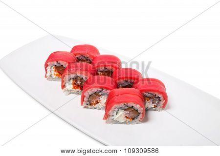 Japanese uramaki tuna roll.