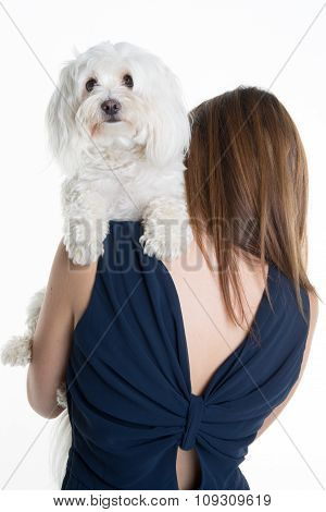 Back View Of A Young Woman,  With Her White Dog, Huging It.