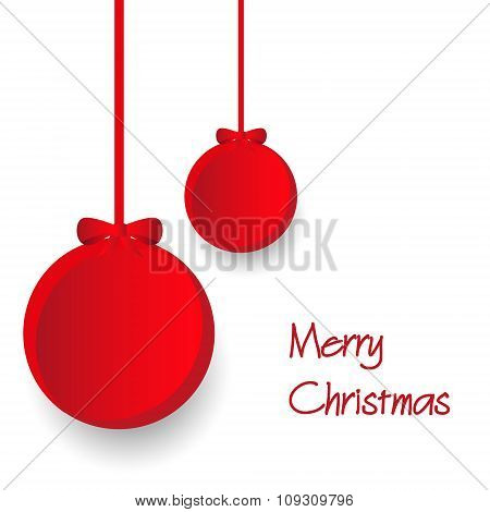 Two Red Paper Christmas Decoration Baubles Hanging Eps10