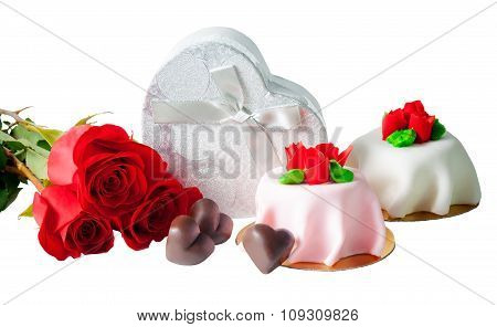 Heart Shape Chocolate, Roses, Gift Box And Cakes With  Red Marzipan Roses  Isolated On White
