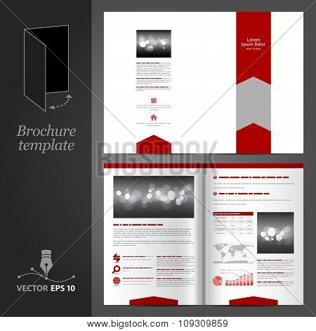 White Brochure Template Design With Red Arrows