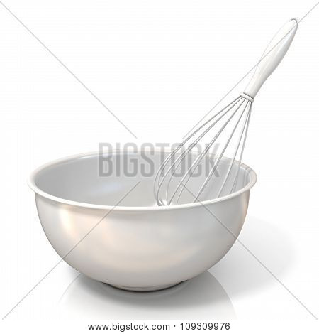 Bowl with a wire whisk