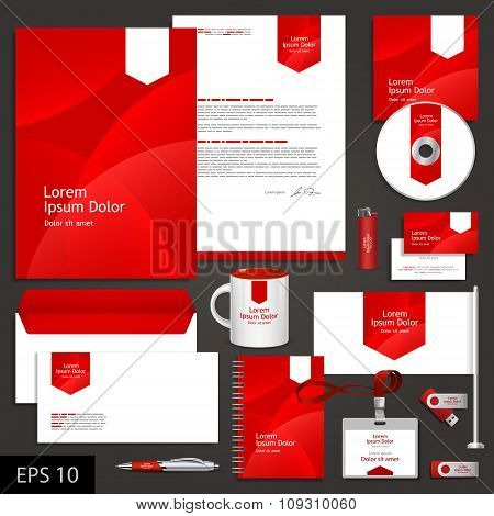 Red Corporate Identity Template With White Arrow