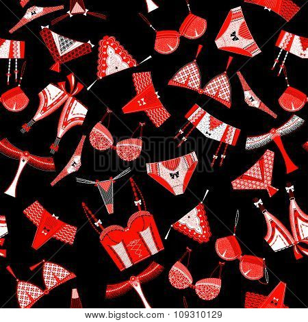 Woman Lingerie, Bra And Pants. Black, White, Red. Seamless Background Pattern.