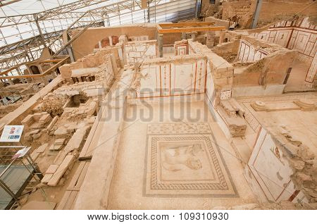 Canned Archaeological Complex Of Historical Ephesus City With Terrace Houses From Roman Period