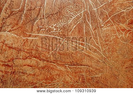 Linoleum With Brown Abstract Pattern With Bright Golden Streaks