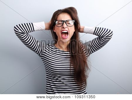 Anger Young Business Woman In Glasses Strong Screaming With Wild Open Mouth