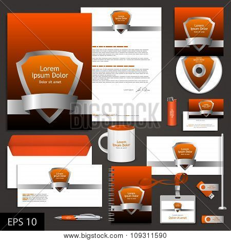 Orange Corporate Identity Template With Shield