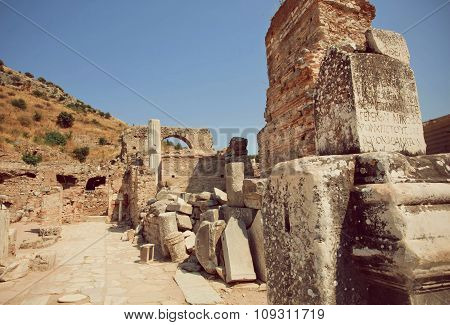 Old Town Area With Columns And Ruined Defensive Walls In Roman Empire Ephesus City