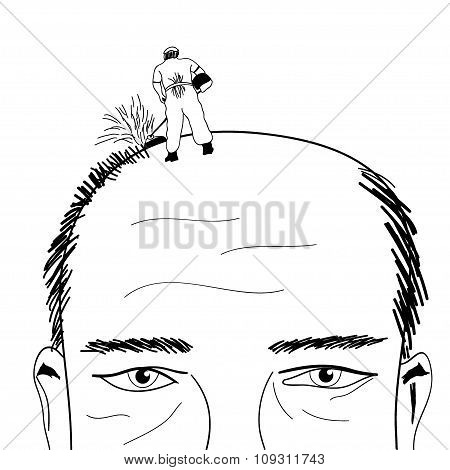 Bald Man Vector Illustration