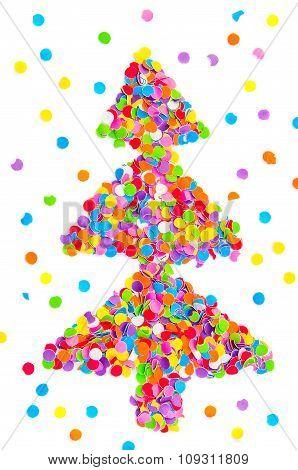 Christmas Tree Made Of Confetti.