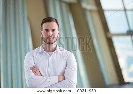 portrait of happy young handsome hipster business man with beard at modern office space interior