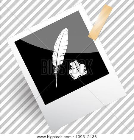 feather and ink bottle. Photoframe. Raster icon.