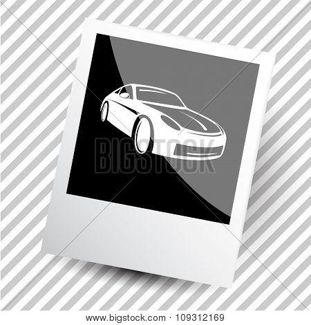 car. Photoframe. Raster icon.