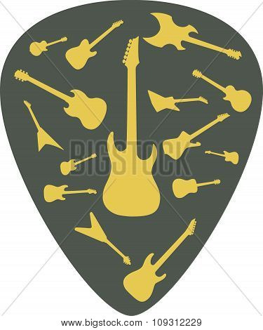 Mediator with different guitar icons