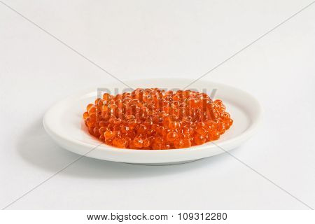 red caviar on the plate